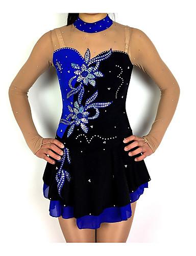 저렴한 아이스 스케이팅-피겨 스케이트 드레스 여성용 여아 아이스 스케이팅 드레스 블랙 / 블루 패치 워크 스판덱스 스트레치 원사 높은 탄성 경쟁 스케이트 의류 클래식 긴 소매 피겨 스케이트