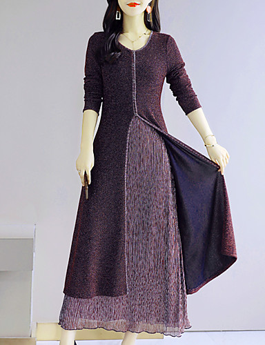 voordelige Maxi-jurken-Dames Grote maten Uitgaan Street chic Elegant Katoen Slank Schede Wijd uitlopend Jurk - Kleurenblok Maxi