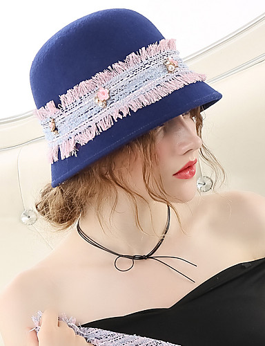 7914c959d386a The Marvelous Mrs. Maisel Women s Adults  Ladies Vintage 1950s Cloche Hat  Hat Blue Color Block Wool Headwear Lolita Accessories