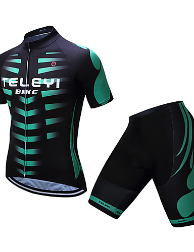 TELEYI Men s Short Sleeve Cycling Jersey with Shorts - Black   Green  Stripes Bike Clothing Suit Sports Polyester Stripes Mountain Bike MTB Road  Bike Cycling ... 01d431803