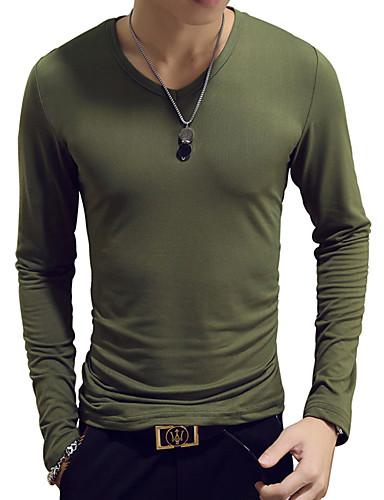 voordelige Heren T-shirts & tanktops-Heren Standaard T-shirt Katoen Effen V-hals Slank Licht Blauw / Lange mouw / Lente / Herfst