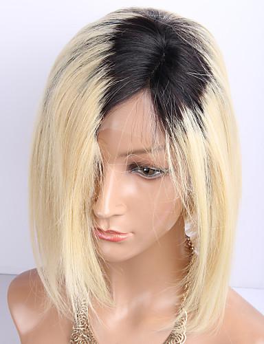 billige Blondeparykker med menneskehår-Ubehandlet hår Remy Menneskehår Blonde Forside Parykk Lagvis frisyre Kort bob Midtdel EMMA stil Brasiliansk hår Naturlig rett Silke Rett Blond Flerfarvet Parykk 130% Hair Tetthet Naturlig