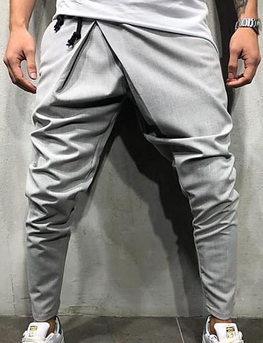 お買い得  メンズパンツ&ショーツ-男性用 誇張された 日常 スウェットパンツ パンツ - ソリッド ネイビーブルー アーミーグリーン ライトグレー L XL XXL