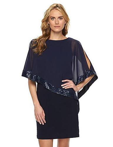 ff100622d22 Women s Plus Size Going out Sophisticated Chiffon Dress - Solid Colored  Sequins Summer Black Dark Blue Wine XL XXL XXXL