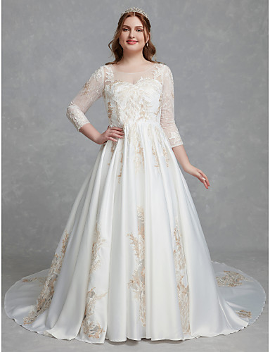 e8ac9918b2f Plus Size A-Line Scoop Neck Chapel Train Lace   Satin Made-To-Measure Wedding  Dresses with Lace by LAN TING BRIDE®