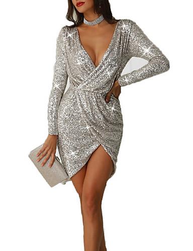 Women's Party / Daily Elegant Asymmetrical Slim Sheath Dress - Solid Colored Sequins / Wrap Deep V Silver M L XL / Sexy