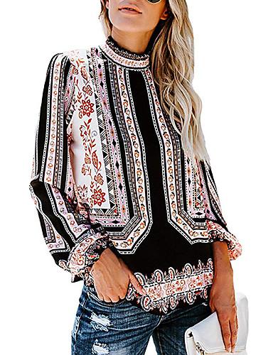 billige Topper til damer-Skinny Rullekrage Skjorte Dame - Geometrisk, Trykt mønster Bohem Rød