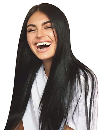 billige Blondeparykker med menneskehår-Ubehandlet hår Ubehandlet Menneskehår Blonde Forside Parykk Midtdel Gratis del Kardashian stil Brasiliansk hår Rett Natur Svart Parykk 130% Hair Tetthet 8-30 tommers med baby hår Til fargede kvinner