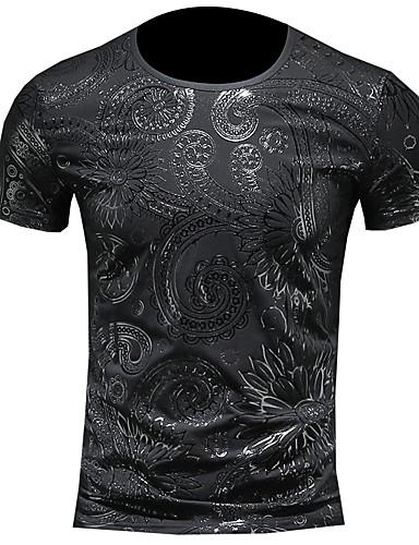 voordelige Heren T-shirts & tanktops-Heren Street chic T-shirt Tribal Ronde hals Zwart / Korte mouw