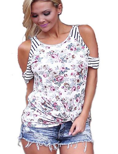 billige Topper til damer-T-skjorte Dame - Blomstret, Stripe / Blomster / Blomster stil Gatemote Hvit / Vår / Sommer / Høst / Vinter / Trykt mønster