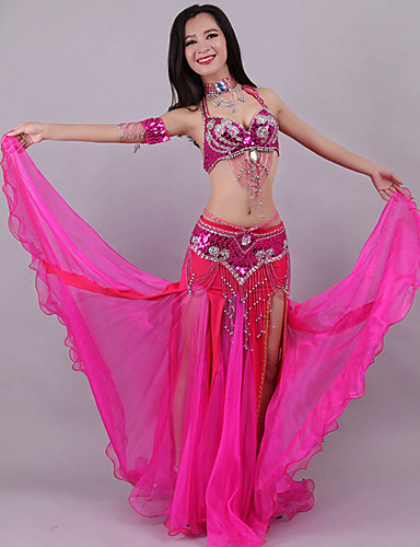 cheap Belly Dancewear-Belly Dance Outfits Women's Training / Performance Polyester Crystals / Rhinestones / Paillette Sleeveless Dropped Skirts / Bra / Waist Accessory
