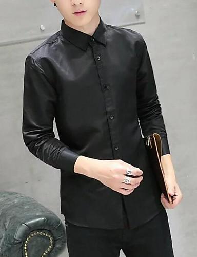 voordelige Uitverkoop-Heren Overhemd Effen Slank Wit / Lange mouw