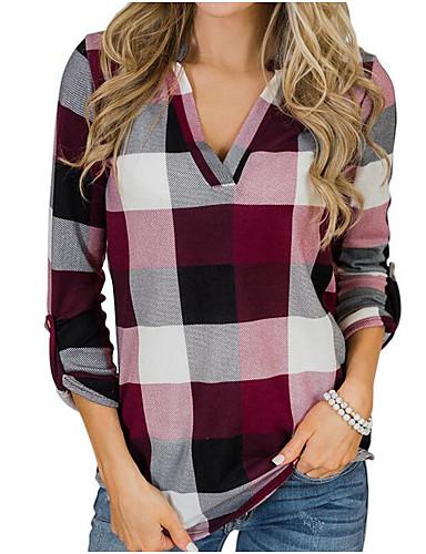 billige Topper til damer-Tynn Skjortekrage Skjorte Dame - Fargeblokk Rød