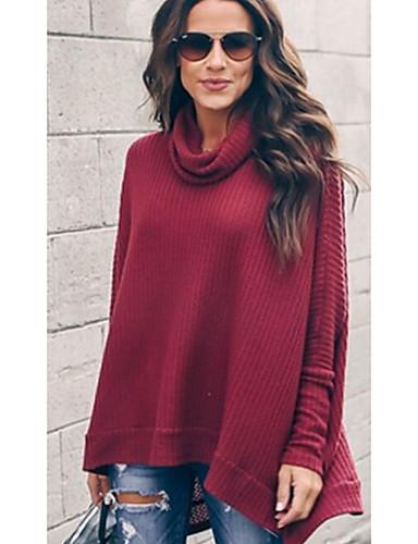 abordables Hauts pour Femme-Tee-shirt Femme, Bloc de Couleur Col Roulé Ample Gris