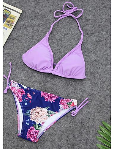 billige Dametopper-Dame Grunnleggende Grime Blå Lilla Gul Cheeky Bikini Badetøy - Blomstret S M L Blå / Sexy