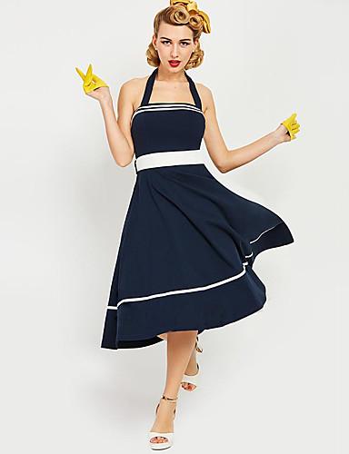 Marilyn Monroe Retro   Vintage 1950s Wasp-Waisted Costume Women s JSK    Jumper Skirt Ink Blue Vintage Cosplay Short Sleeve T-shirt Sleeve One  Shoulder Short ... bad8aa3a0a