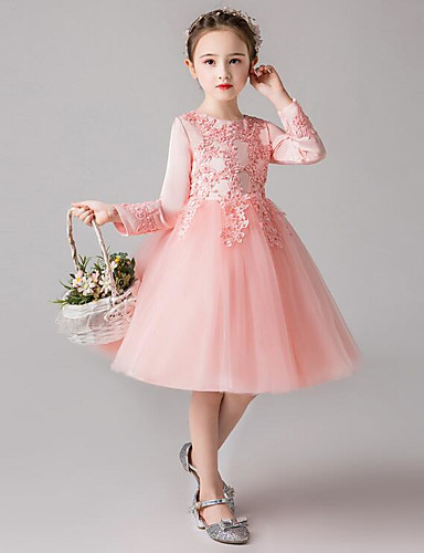 7e714529f2c5 A-Line Knee Length Flower Girl Dress - Polyester / Tulle Long Sleeve Jewel  Neck with Embroidery / Lace / Trim by LAN TING Express