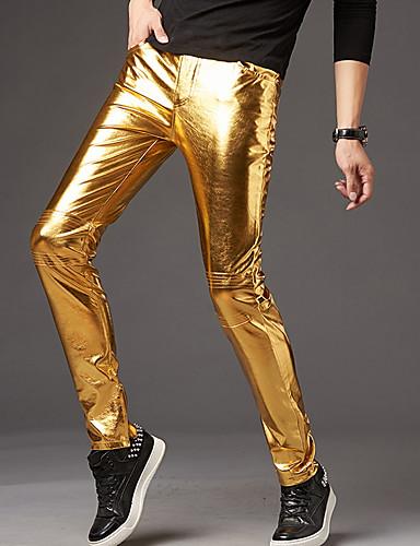 お買い得  メンズ・ボトムス-男性用 パーティー / ストリートファッション チノパン パンツ - ソリッド ゴールド