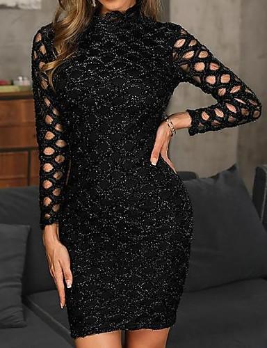 billige Små svarte kjoler-Dame Fest Elegant Tynn Skjede Kjole - Ensfarget, Blonde Paljetter Crew-hals Knelang / Sexy