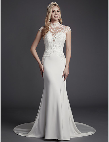 adefb8471aa Mermaid   Trumpet High Neck Court Train Lace   Satin Made-To-Measure Wedding  Dresses with Beading   Lace by LAN TING BRIDE®   Sparkle   Shine
