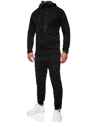 Χαμηλού Κόστους Men's Tracksuits-Ανδρικά Βασικό Φούτερ με Κουκούλα / Activewear Σετ - Μονόχρωμο