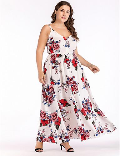 bd2953cde0a Women s Daily Elegant Sheath Dress - Floral Print Beige XXL XXXL XXXXL