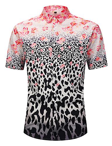voordelige Herenoverhemden-Heren Standaard / Boho Print Overhemd Strand Bloemen / Luipaard / 3D Blozend Roze / Korte mouw / Zomer