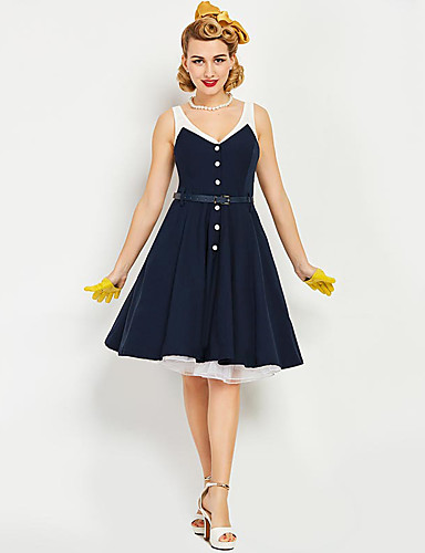 Marilyn Monroe The Marvelous Mrs. Maisel Retro   Vintage 1950s Wasp-Waisted Costume  Women s JSK   Jumper Skirt Ink Blue Vintage Cosplay Sleeveless Strap ... 4ce4e43b54