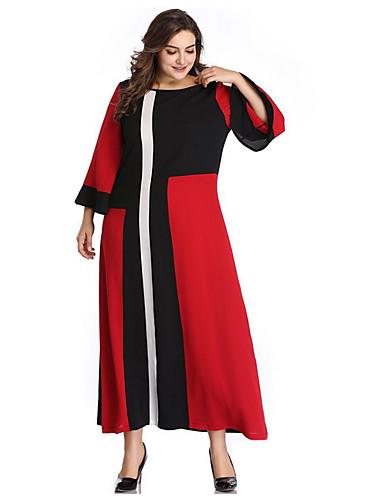 12e697773d Women's Plus Size Daily Elegant Maxi Sheath Dress - Color Block Red XXXL  XXXXL XXXXXL / Sexy