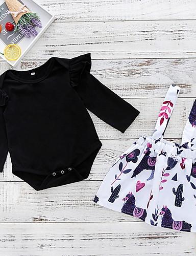 Baby Jente Aktiv Daglig Blomstret Langermet Normal Polyester Tøysett Svart
