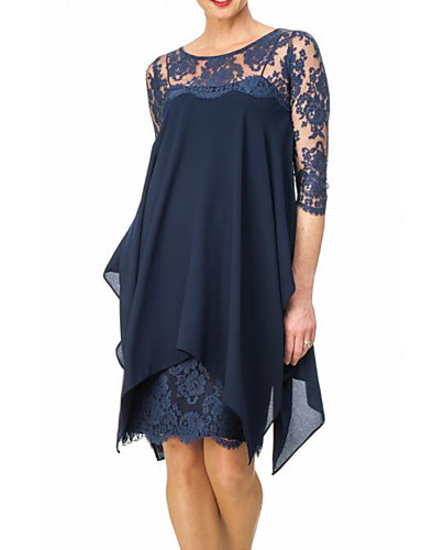 cheap 5/17-Women's Plus Size Going out Slim Sheath Chiffon Dress - Solid Colored Lace Spring Navy Blue Wine XXXL XXXXL XXXXXL