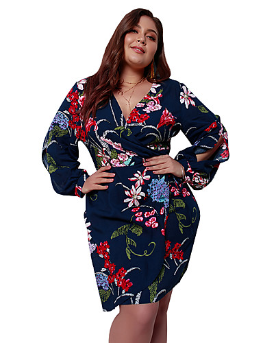 d733eaa060eb Women's Plus Size Daily Going out Basic Boho Loose A Line Sheath Skater  Dress - Floral Geometric Color Block Lace up Print V Neck Spring White  Black Royal ...