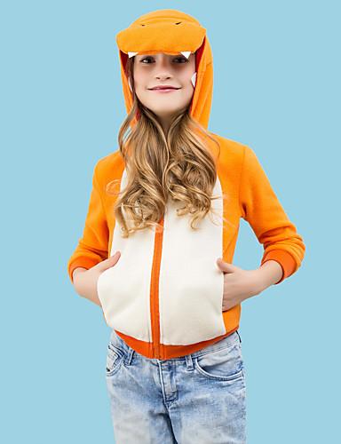 billige Kigurumi-Barne Dinosaur Onesie-pysjamas Polar Fleece Oransje Cosplay Til Gutter og jenter Pysjamas med dyremotiv Tegnefilm Festival / høytid kostymer