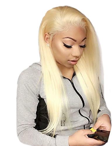 billige Blonde Lace Wigs-Ubehandlet hår Helblonde Parykk Gaga stil Brasiliansk hår Rett Blond Parykk 130% Hair Tetthet med baby hår Beste kvalitet Hot Salg med klipp Dame Medium Lengde Blondeparykker med menneskehår WoWEbony