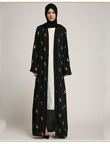 870a2c0c10eb Ενηλίκων Γυναικεία Etnic Αραβικό φόρεμα Αμπάγια Φόρεμα Kaftan Για Halloween  Καθημερινά Ρούχα Φεστιβάλ Πολυεστέρας Εκτύπωση Μακρύ Μήκος Φόρεμα 1 ζώνη
