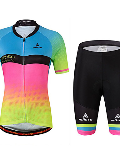 cheap Cycling Clothing-Miloto Women's Short Sleeve Cycling Jersey with Shorts - Rainbow Plus Size Bike Jersey, Reflective Strips, Sweat-wicking Spandex Gradient / Stretchy