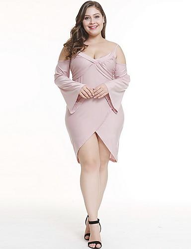voordelige Grote maten jurken-Dames Grote maten Elegant Schede Jurk - Effen Diepe V-hals Asymmetrisch Stoffige roos / Sexy