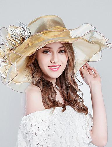 db6c3fd2afd54 Women s Kentucky Derby Flower Holiday Tulle Bucket Hat Floppy Hat Sun Hat-Striped  Stripe Spring   Fall Summer Purple Wine Khaki