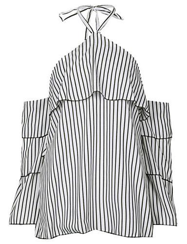 abordables Camisas y Camisetas para Mujer-Mujer Chic de Calle Camisa, Halter A Rayas Blanco M