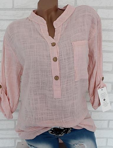 billige Dametopper-V-hals Store størrelser Skjorte Dame - Ensfarget Beige