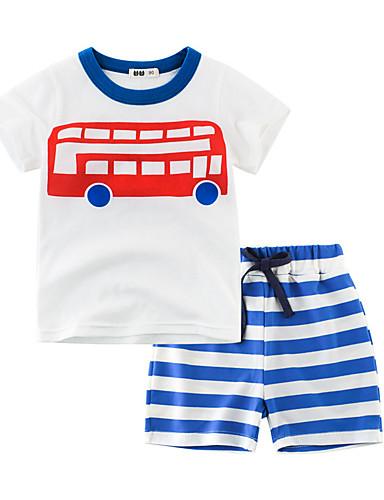 סט של בגדים שרוולים קצרים פסים / אנימציה בנים ילדים