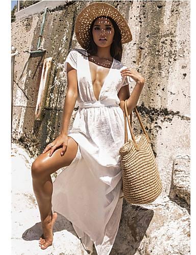 Γυναικεία Βυθίζοντας το λαιμό Λευκό Φούστα Ψηλή Μέση Που καλύπτει Μαγιό - Μονόχρωμο Ένα Μέγεθος Λευκό / Sexy