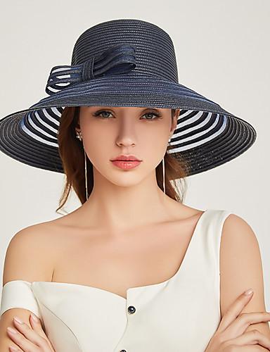 abordables Accessoires Femme-Femme Paille Actif Vacances Chapeau de Paille Rayé Blanc Noir Beige Toutes les Saisons
