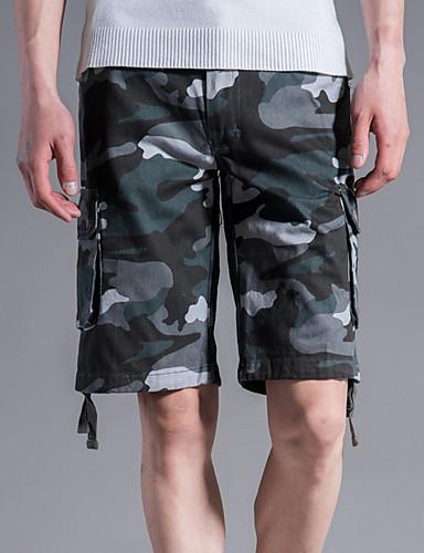 Hombre Chic de Calle Tallas Grandes Shorts Pantalones - camuflaje Gris 57fa56c3b72
