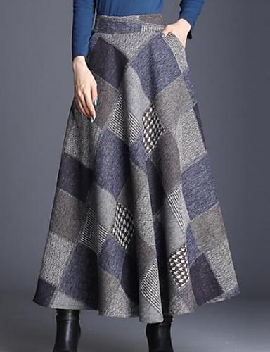 abordables Jupes-Femme Style classique Basique Quotidien Trapèze Jupes - Tartan Taille haute Bleu Rouge XL XXXL XXL