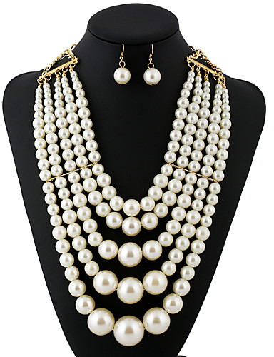 povoljno Ženski modni dodaci-Žene Europska / Moda / Više slojeva Imitacija bisera Ogrlice
