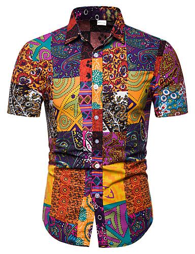 69e1a3970 Men's Club Weekend Business / Street chic EU / US Size Linen Shirt - Tribal  Print Classic Collar Rainbow XXXL / Short Sleeve