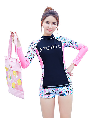 31bf3b0bed BANFEI Women's Rashguard Swimsuit Swimwear Thermal / Warm Breathable Quick  Dry Long Sleeve 2-Piece - Swimming Surfing Water Sports Reactive Print  Patchwork ...
