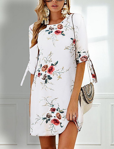 b303d80efde4 Women's Holiday Chiffon Dress - Floral Print Summer Gray Khaki Royal Blue L  XL XXL / Mini