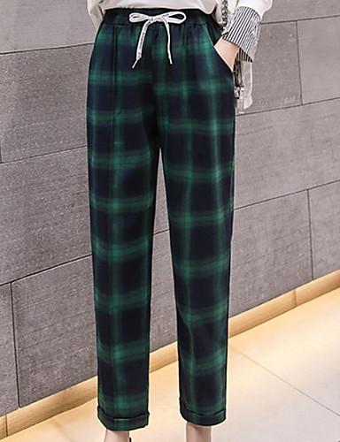 abordables Pantalons Femme-Femme Basique Quotidien Chino Pantalon - Damier Taille haute Noir Rouge Vert S M L